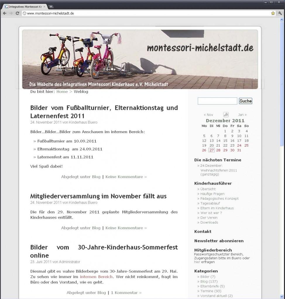 Ansicht der Kinderhauswebsite 2005 - 2011
